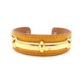 Hermes Gold Tone Metal Brown Leather Bracelet