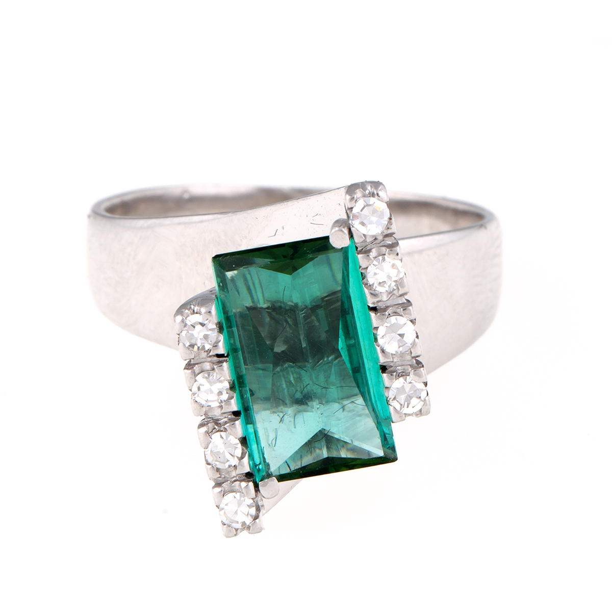 "Image of ""H. Stern 18K White Gold Green Tourmaline and 0.15ct. Diamond Ring Size"""