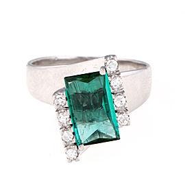 H. Stern 18K White Gold Green Tourmaline and 0.15ct. Diamond Ring Size 7