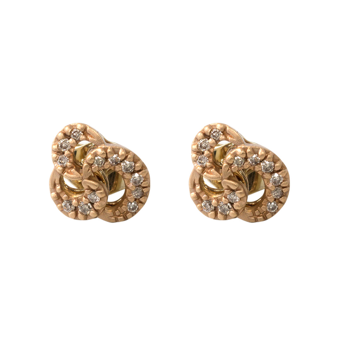 "Image of ""H. Stern 18k Rose Gold Diamond Knot Earrings"""