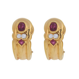 H. Stern 18K Yellow Gold Ruby and 0.10 Ct Diamond Earrings