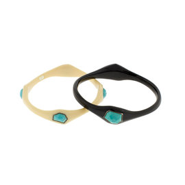 Ippolita Black & White Resin 4 Stone Turquoise Bangle Set