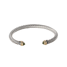 David Yurman Sterling Silver and 14K Yellow Gold Green Peridot Cable Bangle
