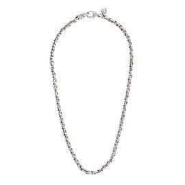 Judith Ripka 18K White Gold 0.08ctw. Diamonds Textured Link Necklace