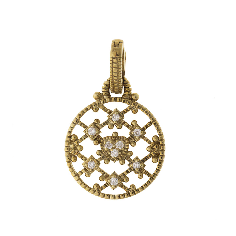 "Image of ""Judith Ripka 14k Yellow Gold 0.10 Ct Diamond Rope Pendant"""