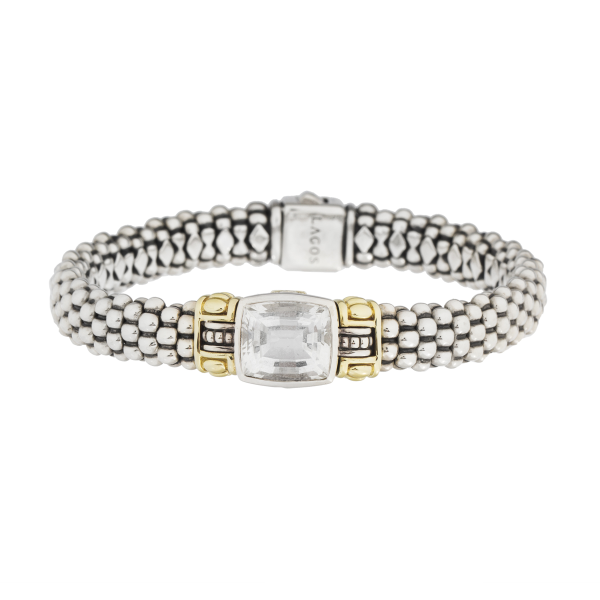 "Image of ""Lagos 18K Yellow Gold and Sterling Silver Caviar Quartz Bracelet"""