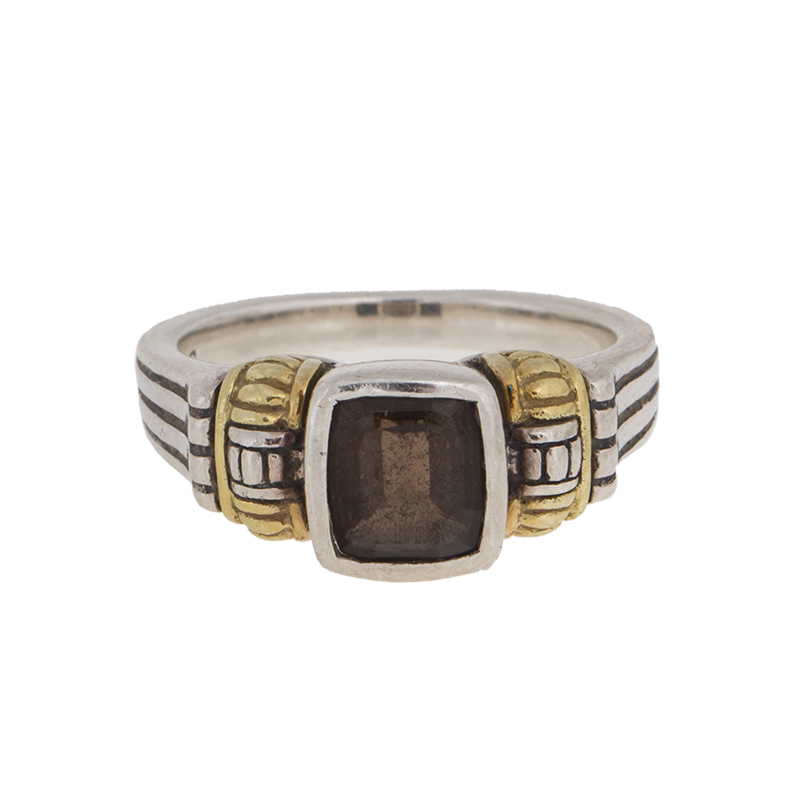 "Image of ""Lagos 18k Yellow Gold and Sterling Silver Smokey Quartz Ring Size 7"""