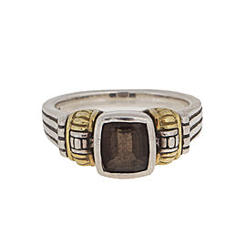 Lagos 18k Yellow Gold and Sterling Silver Smokey Quartz Ring Size 7