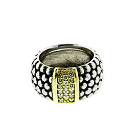 Lagos Caviar Yellow Gold and Sterling Silver Diamond Ring