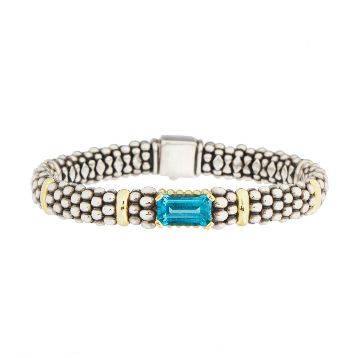 "Image of ""Lagos 18K Yellow Gold and Sterling Silver Caviar Blue Topaz Bracelet"""