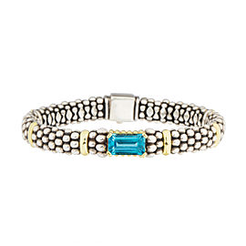 Lagos 18K Yellow Gold and Sterling Silver Caviar Blue Topaz Bracelet