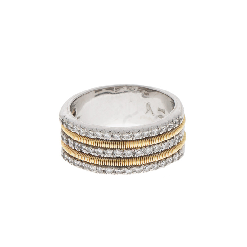 "Image of ""Marco Bicego 18k White and Yellow Gold 3 Row Diamond Ring"""