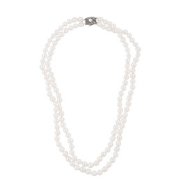 Mikimoto 925 Sterling Silver with Pearl Double Strand Necklace