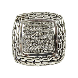 John Hardy 925 Sterling Silver 18K Gold 0.85tcw Diamond Ring Size 6.5