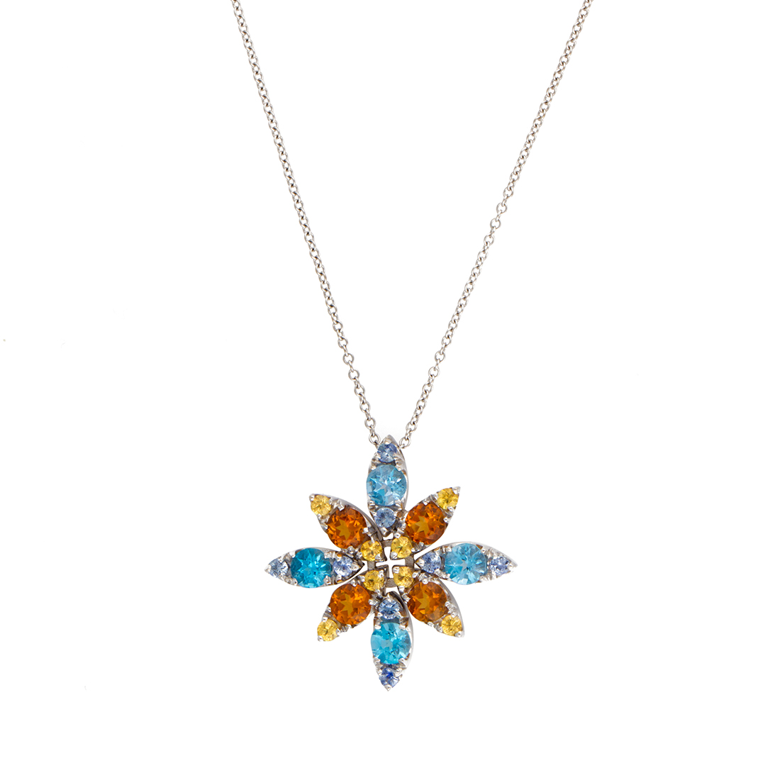 "Image of ""Pasquale Bruni 18K White Gold Blue Topaz and Citrine Pendant Necklace"""