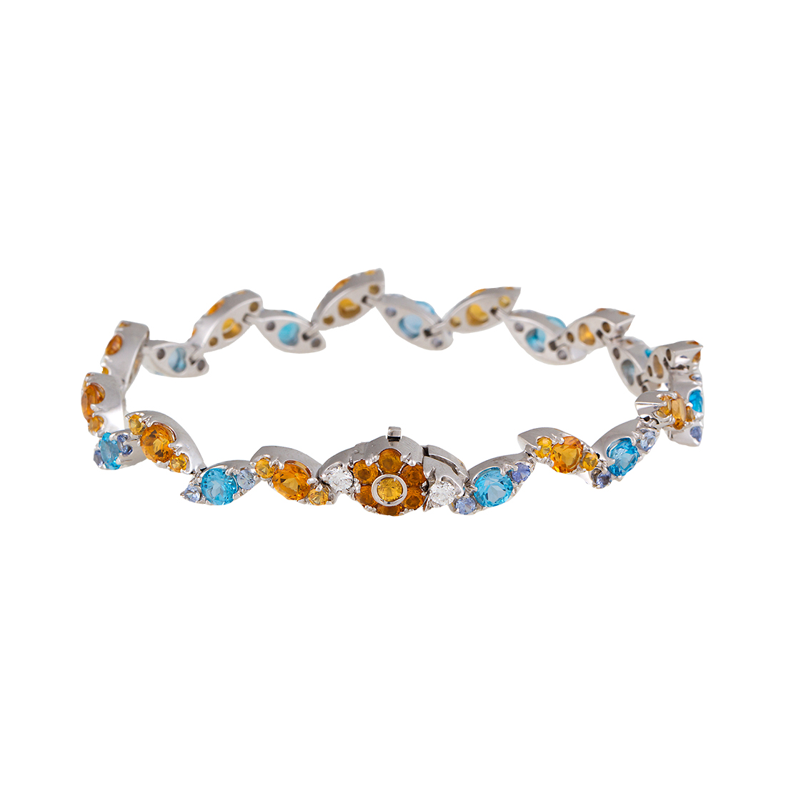 "Image of ""Pasquale Bruni 18K White Gold Blue Topaz and Citrine Bracelet"""