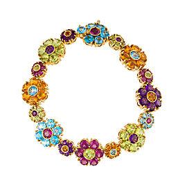 Pasquale Bruni 18k Yellow Gold Multi Gemstone Flower Cluster Bracelet