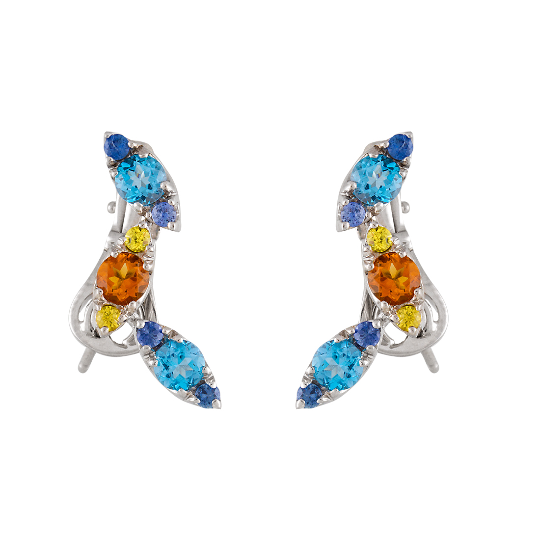 "Image of ""Pasquale Bruni 18k White Gold Blue Topaz and Citrine Drop Earrings"""