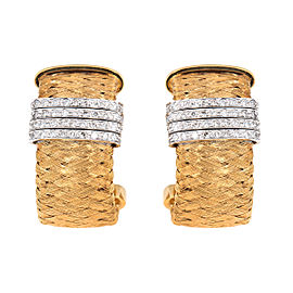 Roberto Coin 18K Yellow Gold Woven 0.50ct. Diamond Hoops