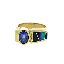 14K Yellow Gold Amethyst Black Onyx & Opal Men's Ring