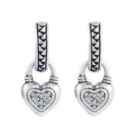 Scott Kay Sterling Silver 0.10ct. Diamond Heart Drops Huggie Earrings