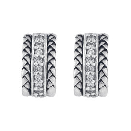 Scott Kay Sterling Silver with 0.36ct. Diamonds Small Equestrian Earrings