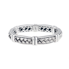 Scott Kay Sterling Silver Woven Hinged Bangle Bracelet
