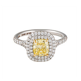 Tiffany & Co. Fancy Intense 1.12ct. Yellow Diamond Soleste Ring Size 6