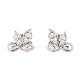 Tiffany & Co. Paloma Picasso 18K White Gold 3 Leaf 0.10ct Diamond Earrings