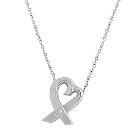 Tiffany & Co. Paloma Picasso Heart Diamond Sterling Silver Necklace