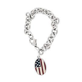 Tiffany & Co. 925 Sterling Silver American Flag Charm Bracelet