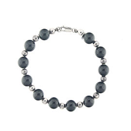 Tiffany & Co. Sterling Silver and Onyx Bead Bracelet