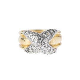 Tiffany & Co. Jean Schlumberger 18k Yellow Gold 1 Ct Diamond X Band Size 4.5 Ring