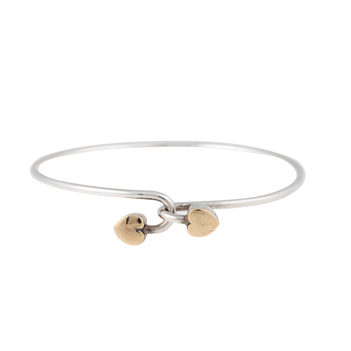 """Image of """"Tiffany & Co. Sterling Silver and 18K Yellow Gold Double Heart Bangle"""""""
