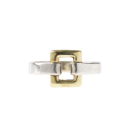 Tiffany & Co. 18k Yellow Gold and Sterling Silver Open Square Buckle Ring