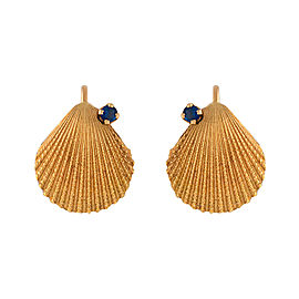 Tiffany & Co. 18K Yellow Gold with Sapphires Seashell Earrings