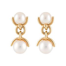 Tiffany & Co. 18K Yellow Gold Double Drop Pearl Dangle Earrings