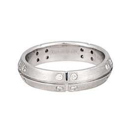 Tiffany & Co. 18K White Gold 0.15ct. Diamond Streamerica Ring Size 7