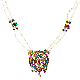 Emerald and Ruby Double Pearl Strand Necklace