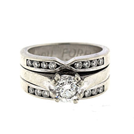 14k White Gold Diamond Engagement Ring Size 5.75
