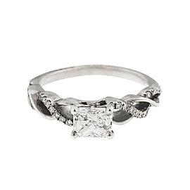 14k White Gold Rectangle Cushion Half Carat Diamond Ring