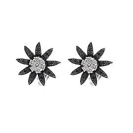 18k White Gold White and Black Diamond Flower Earrings