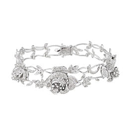 18k White Gold Floral 2.5 Ct Diamond Bracelet