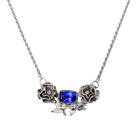 14k White Gold AAA Tanzanite Flower Necklace