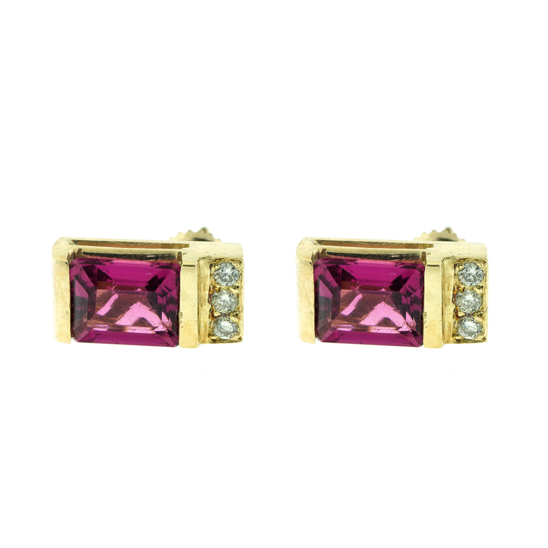 """""14k Yellow Gold Diamond and Pink Topaz Earrings"""""" 816121"