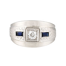 14k White Gold 0.25ct Diamond and Sapphire Mens Ring Size 8.5