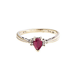 14K White Gold 0.02 Ct Diamond and 0.20 Ct Ruby Ring Size 6.25
