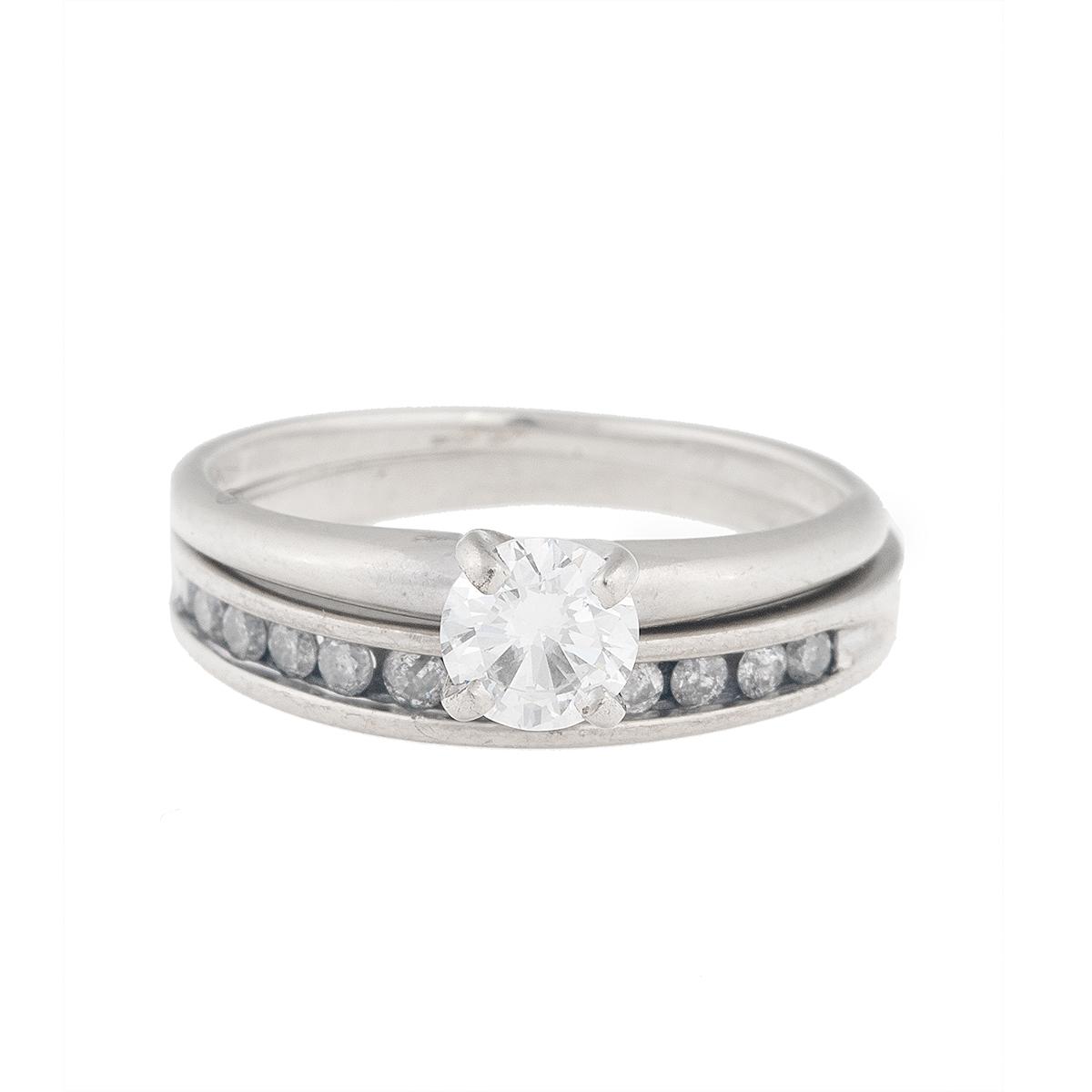 "Image of ""10K & 14K White Gold Diamond Engagement Ring Set"""