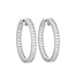 18K White Gold 4.00 Ct Diamond Hoop Earrings