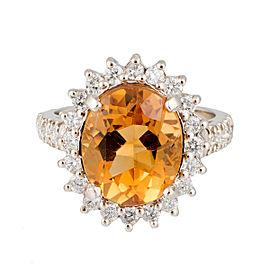 14K White Gold 1.05ct Diamond and 5.0ct Citrine Ring Size 6.5
